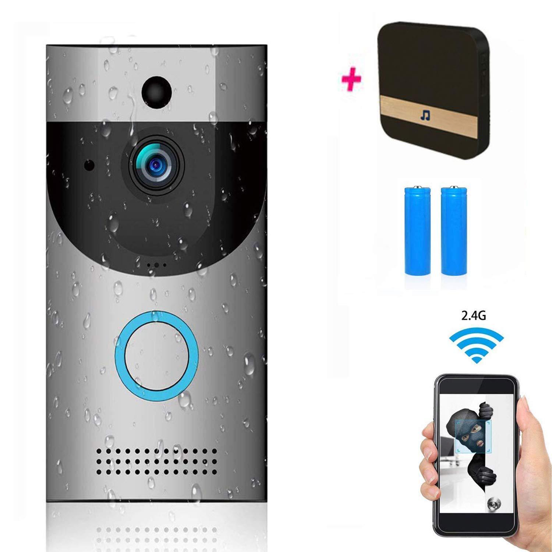 L@CR Kabellos Video Türklingel, IP65 Wasserdichte Doorbell 720P HD WiFi Überwachungskamera, Mit Glockenspiel Und Akku, Echtzeit-Video, Zwei-Wege-Gespräch, Nachtsicht, PIR, Für Ios Und Android