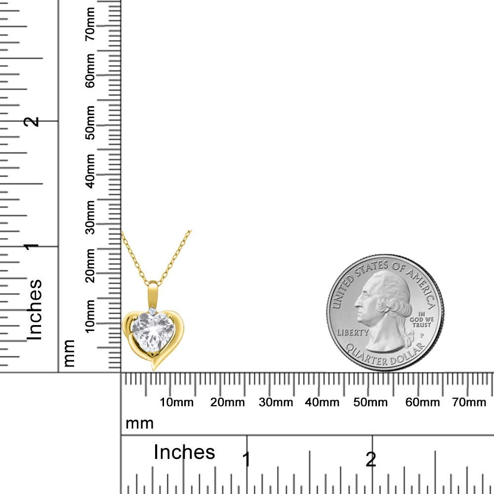 Gem Stone King 2.02 Ct Heart Shape White Topaz 18K Yellow Gold Plated Silver Pendant