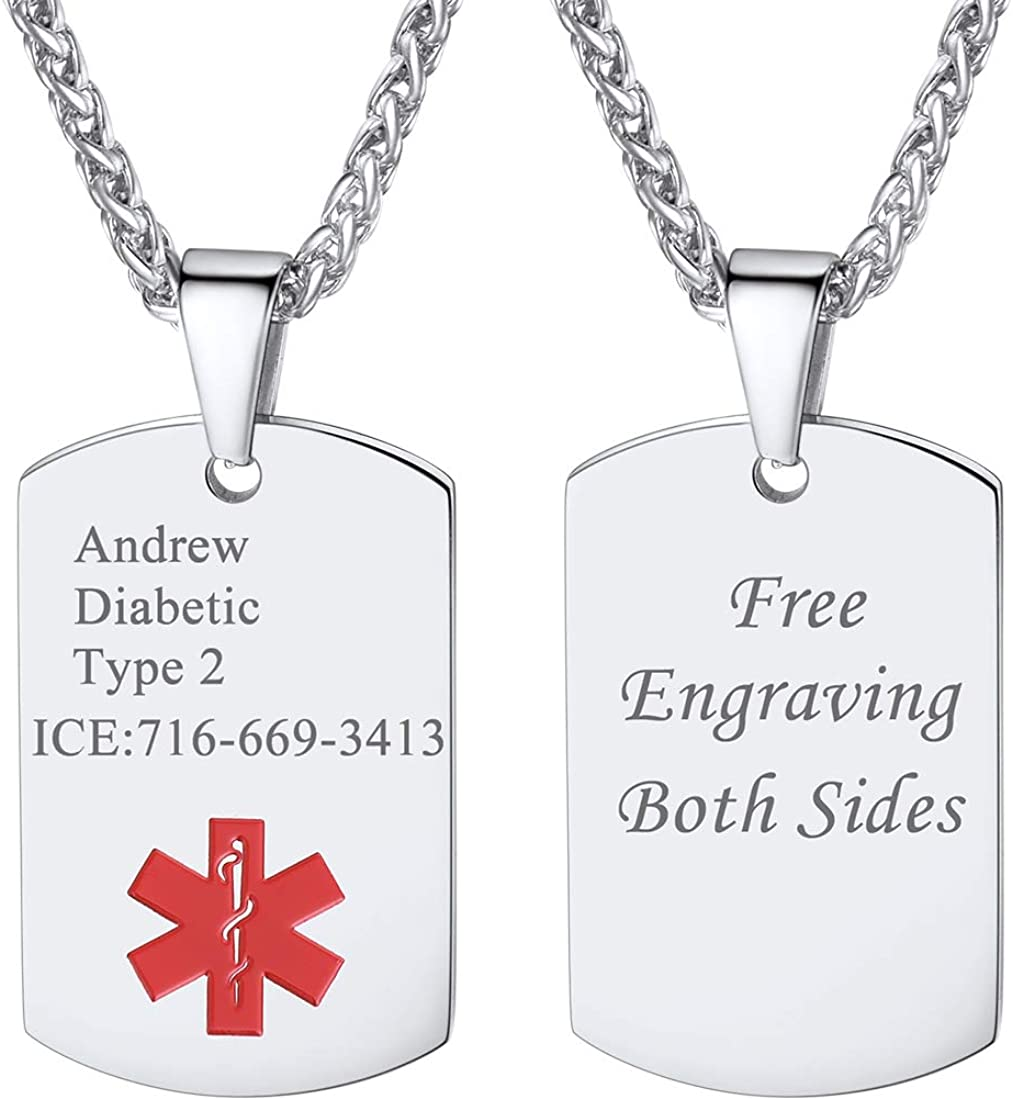 U7 Customized Medical Alert Jewelry Men Women Stainless Steel Heart/Round/Guitar Pick/Shield/Hexagon/Hexagon Personalized Message Engraved EMC Dog Tags Pendant Necklace 22 Inch, with Gift Box