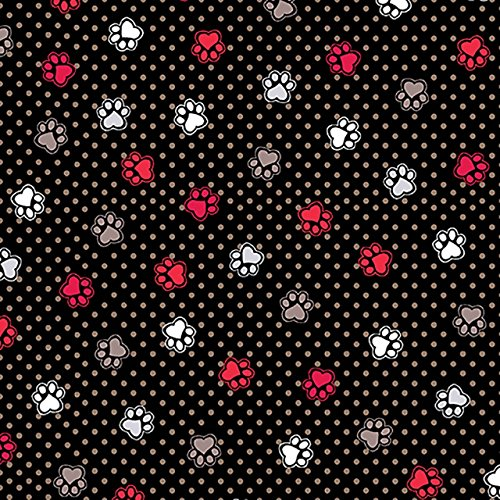 (Cat or Dog Fabric - Flannel - Scottie Love - Love Those Paws - Black - 100% Cotton Flannel - by The Yard)
