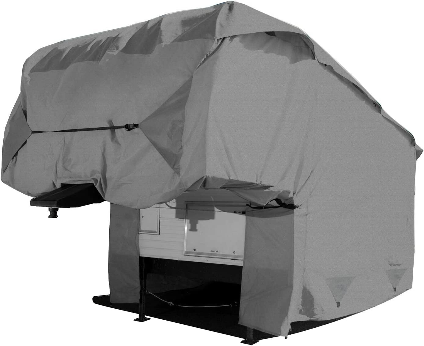 All Weather Proof Outdoor RV Travel Trailer Cover Universal Fit 34 to 37 Long Waterproof Arch Motoring 5 Layers Fifth Wheels Trailer Cover Scratch Resistant UV Protection