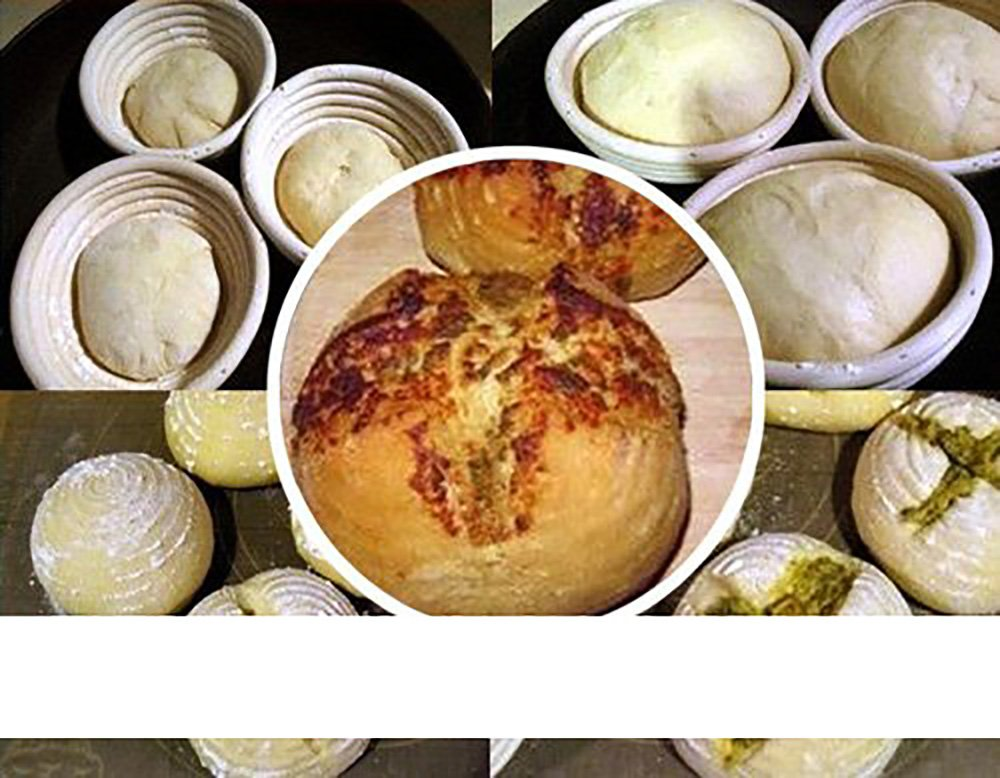 Two 18x9cm Round Bread Proofing Proving Baskets, Rattan Banneton Brotform, Sour Dough proofing, artisan bread. With Liner