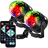 Litake Party Lights Disco Ball Strobe Light Disco Lights, 7 Colors Sound Activated with Remote Control Dj Lights Stage Light for Festival Bar Club Party Wedding Show Home-2 Pack