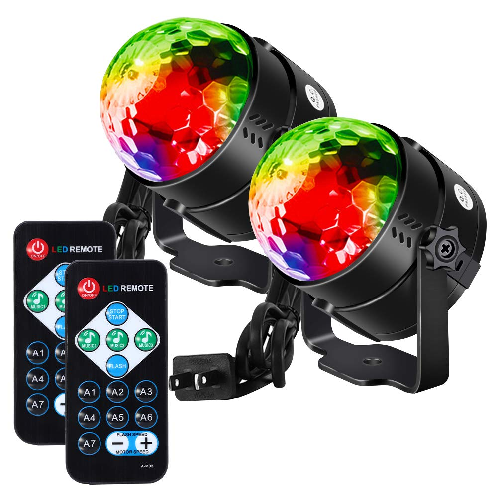 Litake Party Lights Disco Ball Strobe Light Disco Lights, 7 Colors Sound Activated with Remote Control Dj Lights Stage Light for Festival Bar Club Party Wedding Show Home-2 Pack by Litake