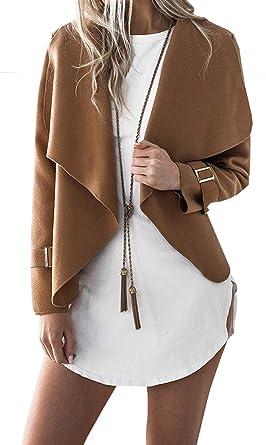 BLACKMYTH Mujer Moda Abrigos De Lana Lapel Corto Cárdigan Manga Larga Jacket Capa Caqui Large: Amazon.es: Ropa y accesorios