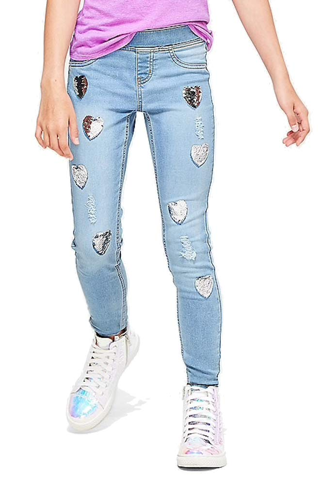 Justice Heart Flip Sequin Pull on Jean Legging (12) by Justice (Image #1)