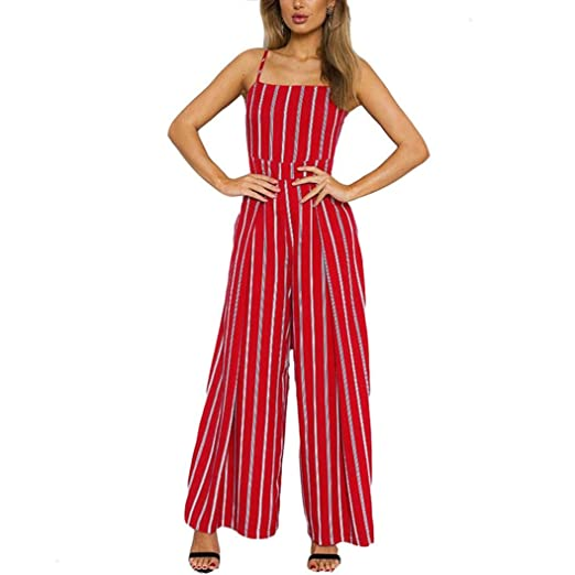 8d15c3720ea Womens Jumpsuits Sexy Sleeveless Wide Leg Long Pants Jumpsuits Rompers (S