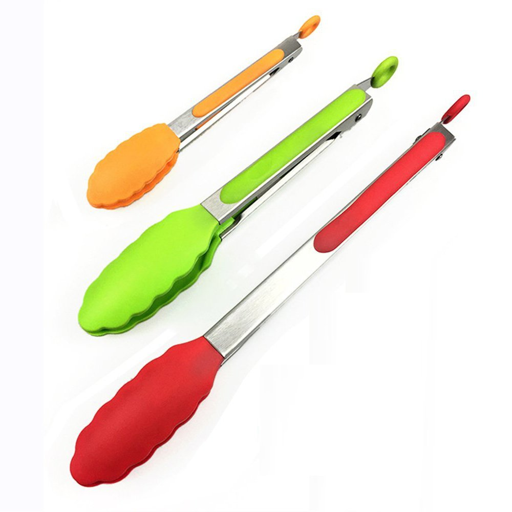 3pcs Kitchen Cooking Tongs Heat Resistant, 7