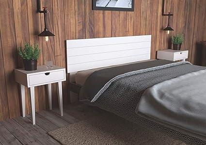 LA WEB DEL COLCHON - Cabecero de Madera Rústico Vintage para Cama de 135 (145 x 90 cms.) Blanco nórdico | Cabeceros Madera | Dormitorio Matrimonio | ...