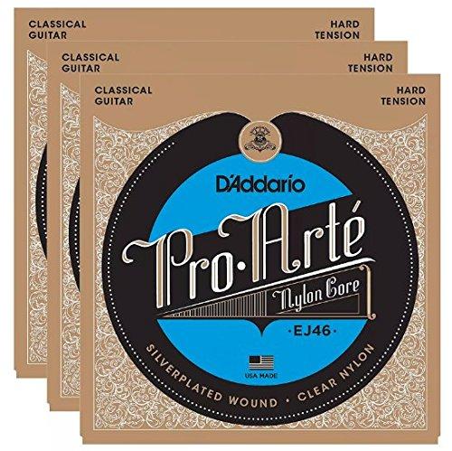 D'Addario EJ46 Pro-Arte Hard Tension Silver (3 Pack Bundle)