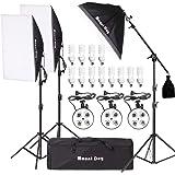 MOUNTDOG 2400W Softbox Phogography Lighting Kit 20'x 28' Softbox3 Professional Continuous Light Set 12X45W E27 5500K Bulbs Camera Photo Studio 4 Socket Headlight Portrait Photoshooting Portraits