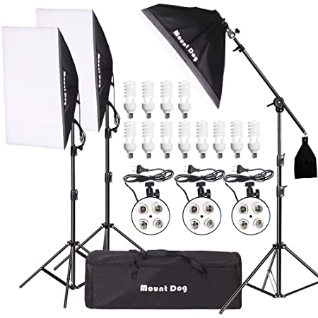Mountdog 2400 W Softbox Photography Lighting Kit 20'x 28' Softbox3 4 Socket Professional Continuous Light Set 12 X45 W E27 5500 K Bulbs For Portrait Photo Video Shooting by Mountdog