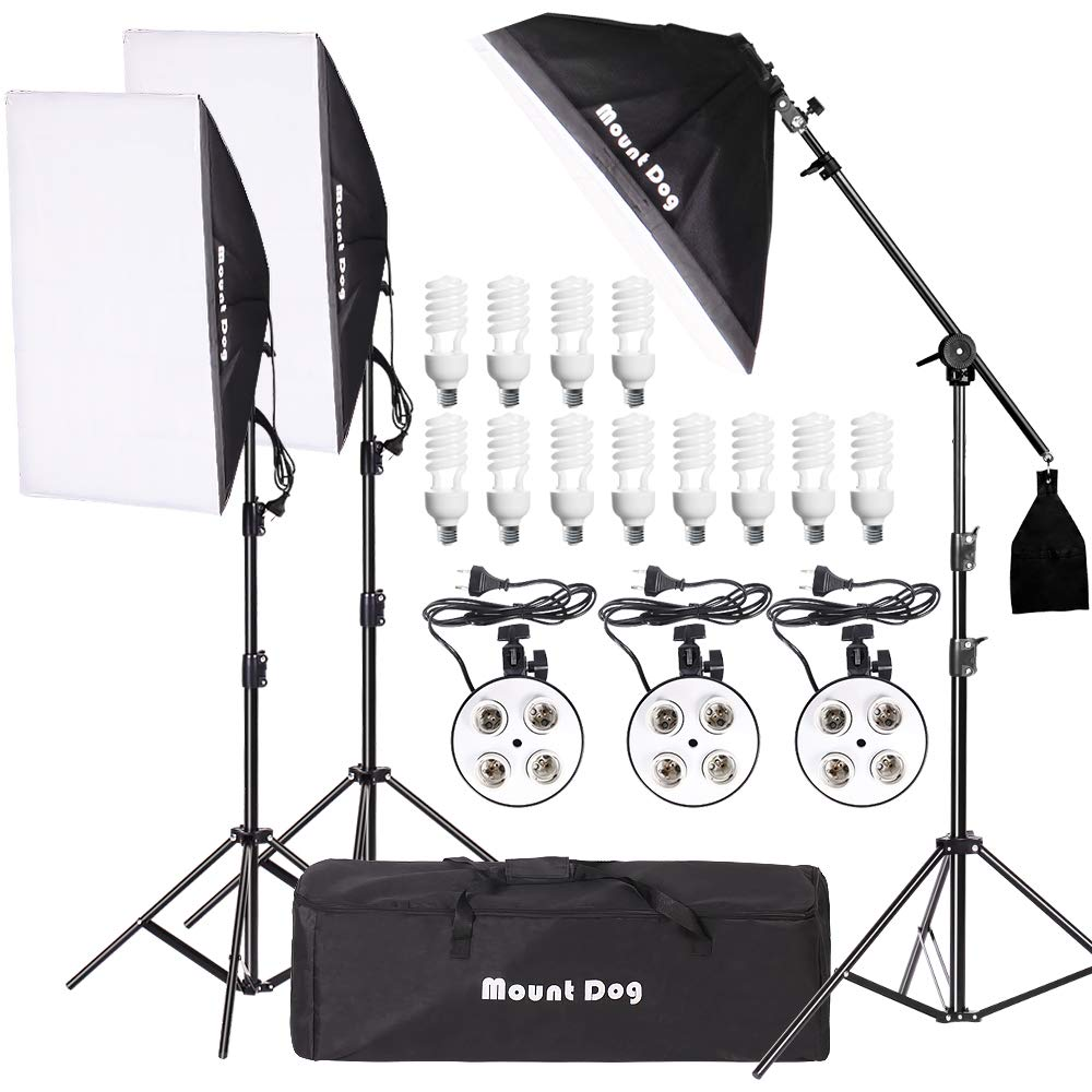 MOUNTDOG 2400W Softbox Photography Lighting Kit 20'x 28' Softbox3 4 Socket Professional Continuous Light Set 12X45W E27 5500K Bulbs for Portrait Photo Video Shooting