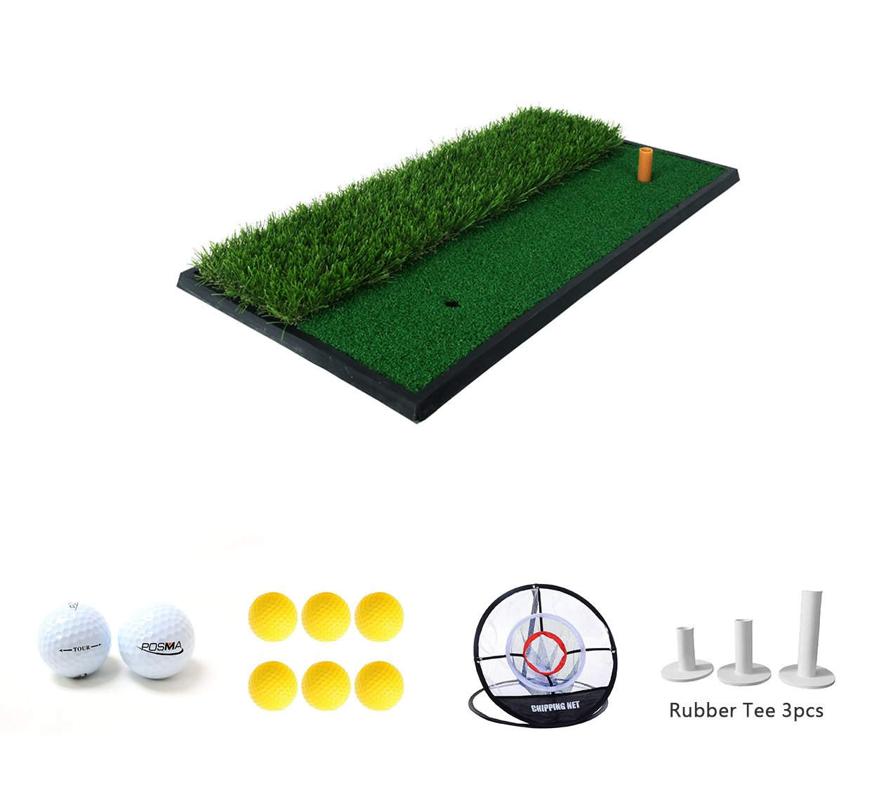 POSMA HM020A 30x60cm Golf Practice Double Side Hit Mat bundle Gift set with 3pcs Rubber Tee + 2pcs Tour Balls + 6pcs Golf Balls + 1pc Portable Golf Chipping Hitting Net for indoor