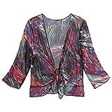 CATALOG CLASSICS Women's Multi-Color Shrug - 3/4-Sleeves Tie Front Mesh Bolero - Medium