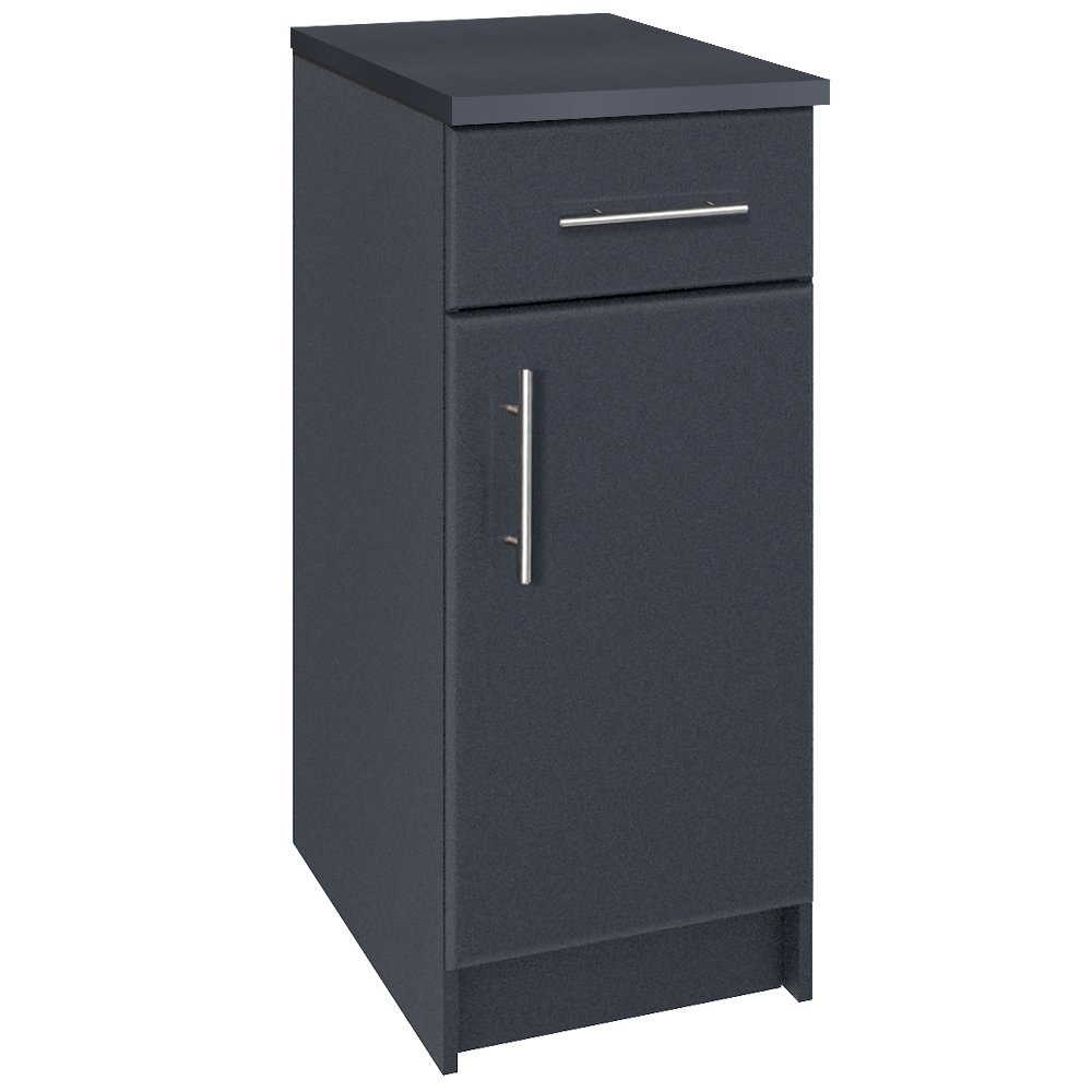Heselian HESESC07D RES-CXC7003-HE RESSORTIR Elite Base Cabinet with Thick Durable Melamine Work Surface, 16'' L, Dark Gray, Blue