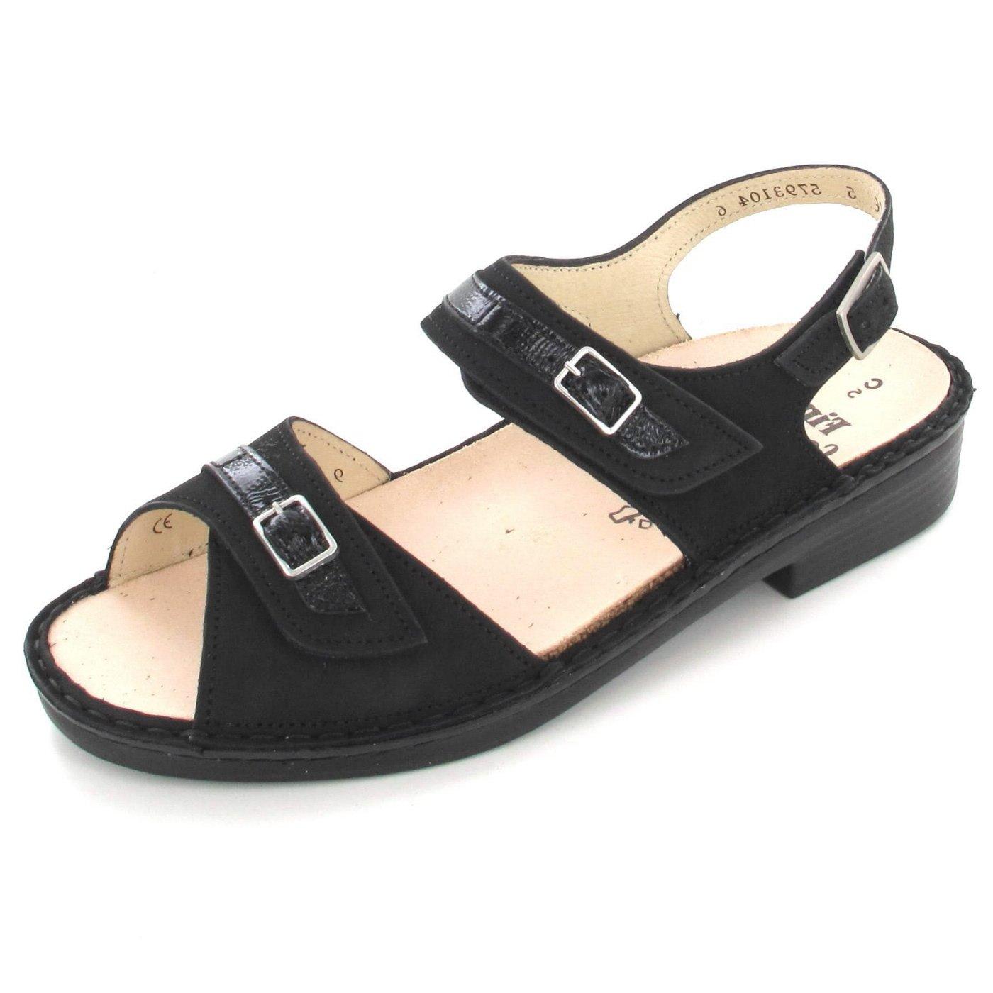Finn Comfort Women's Sasso Fashion Sandals, Black, Leather, Rubber, 6 UK / 8.5 M US