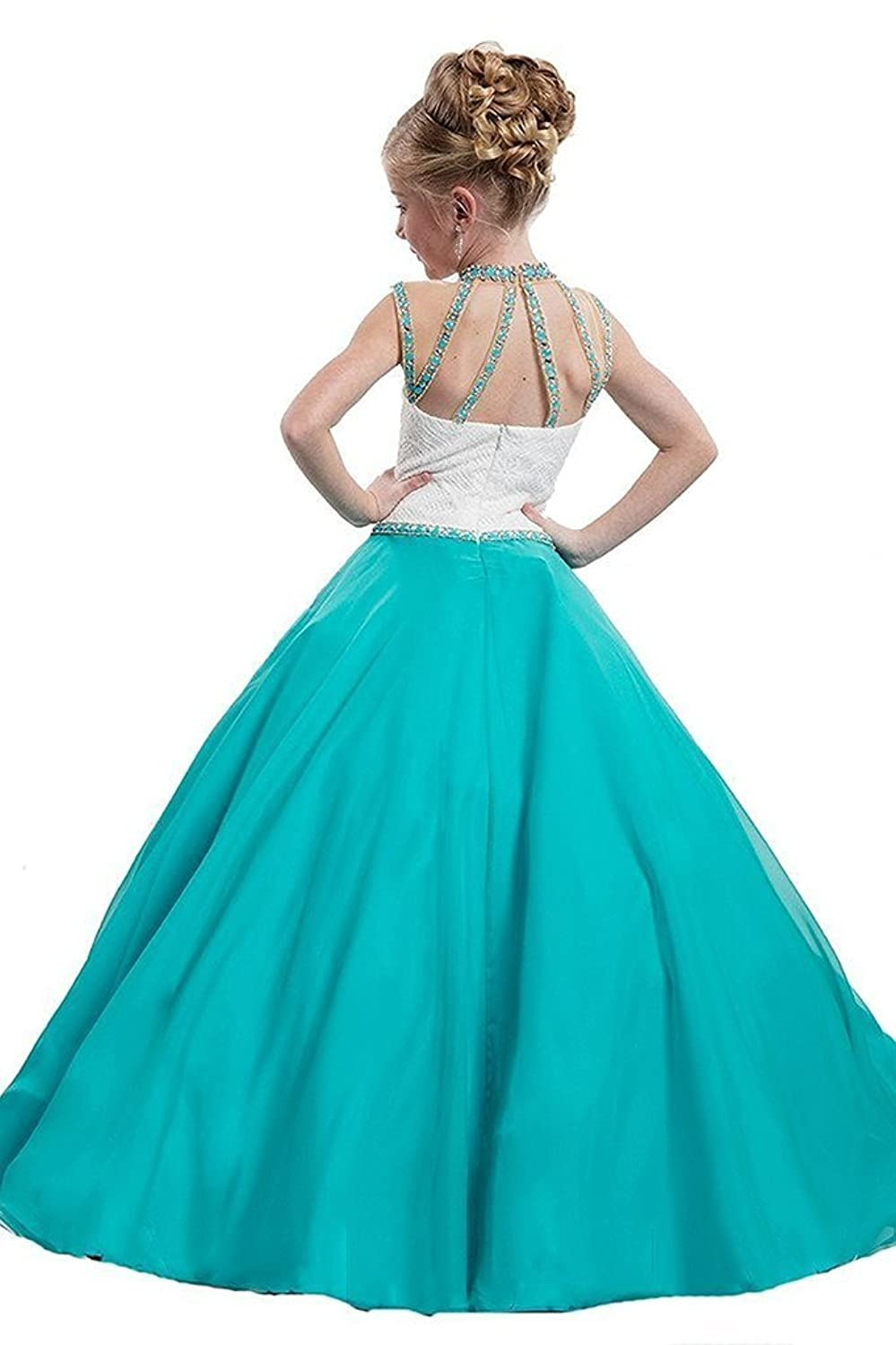 Amazon.com: WZY Girls Illusion Neckline Pageant Gown Kids Party Ball ...