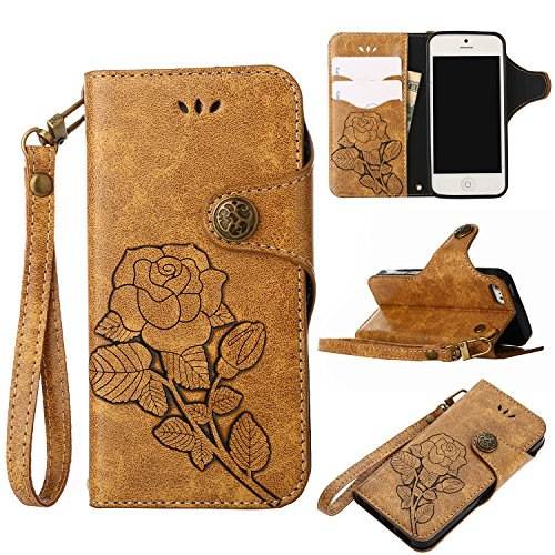 Cyber Deals Monday Deals Sales-iPhone SE/5S/5 Leater Wallet Case,Valentoria 2 in 1 Vintage Flower Book in Italian Style 3 Card Holder Cash Slot Kickstand Function Slim Lightweight Case Cover(Khaki)]()