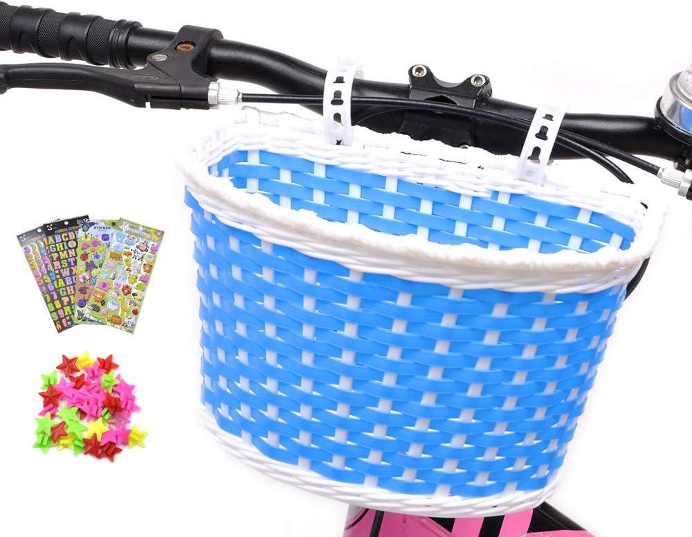 Kid/'s Woven Nylon Bicycle Basket with Mount Strap /& 4pcs Handlebar Streamer