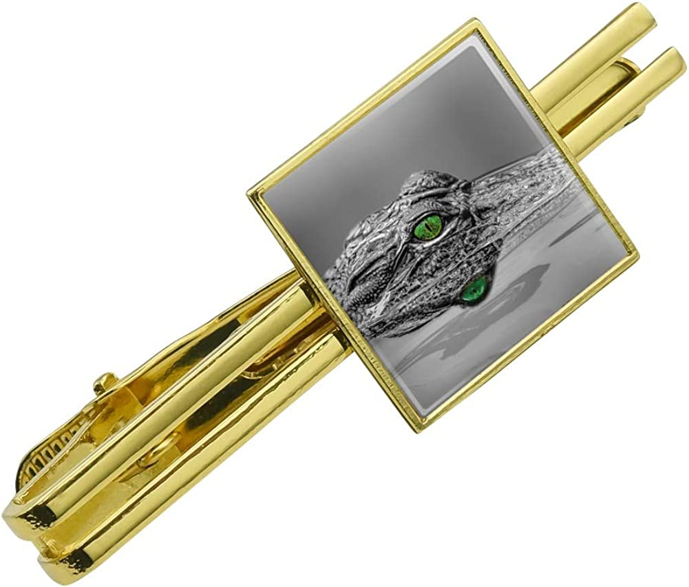 Alligator Black and White Green Eyes Square Tie Bar Clip Clasp Tack Silver or Gold