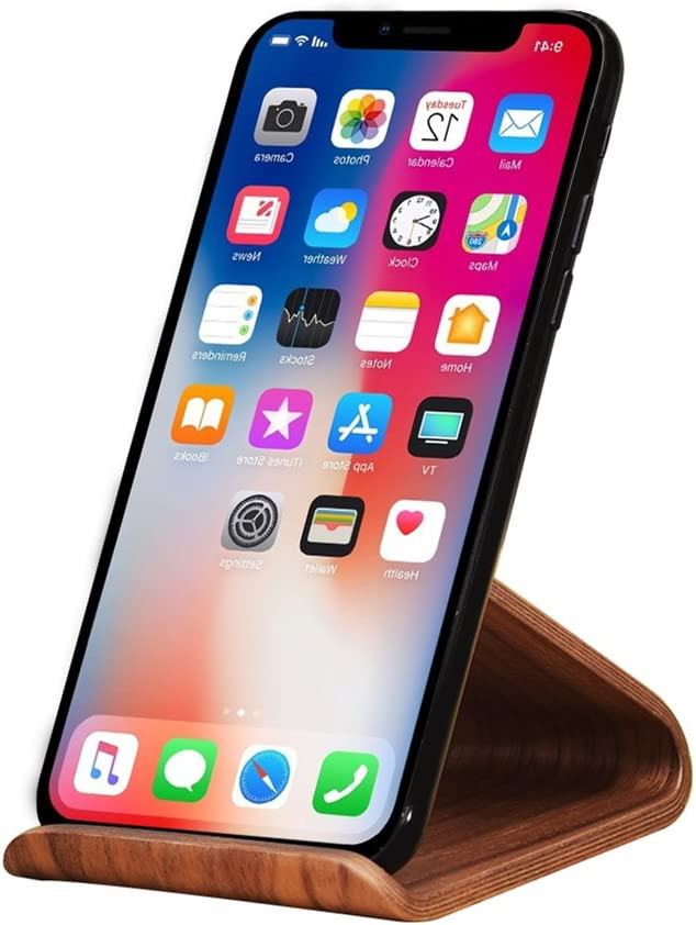 SAMDI Wood Cell Phone Stand, Smartphone Wood Dock for iPhone 7 8 X Plus, Samsung Galaxy S5 S7 S6, Android - (Black Walnut)