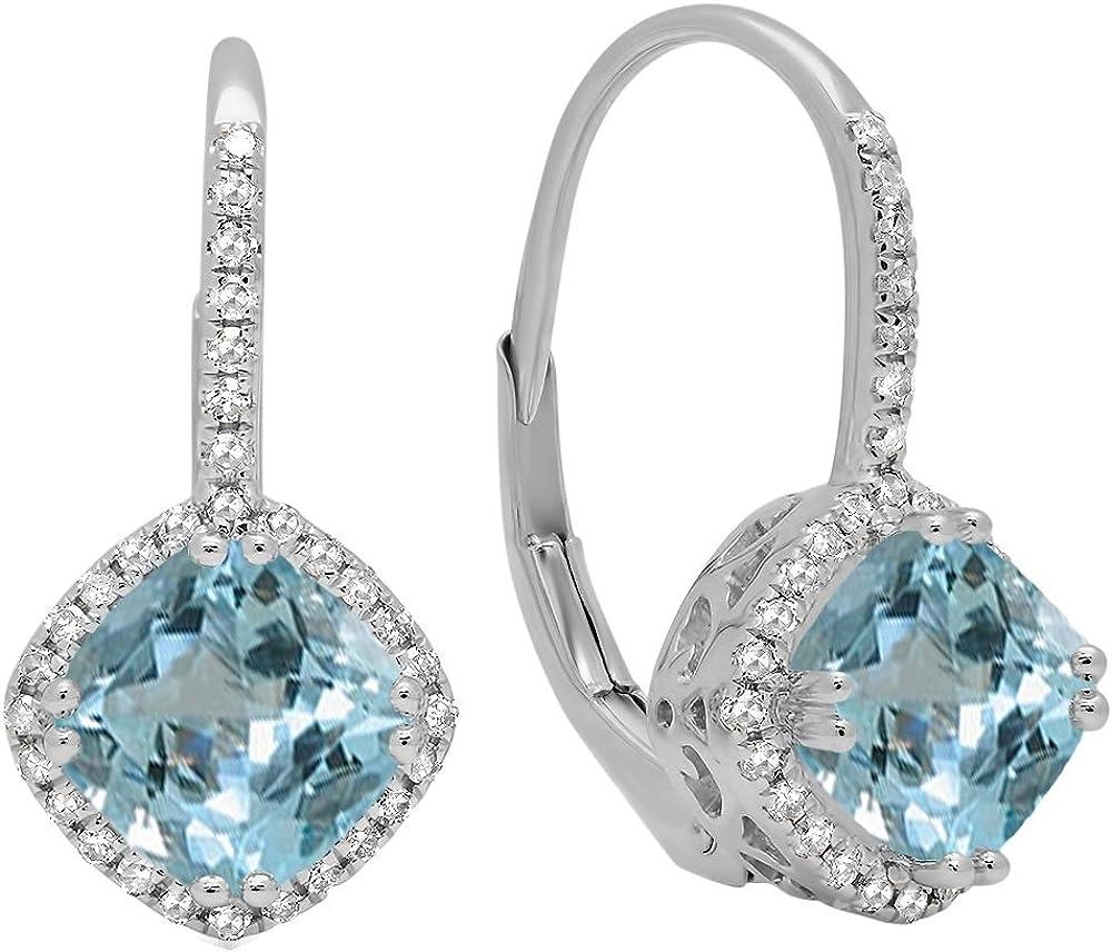 18K blanco oro 6mm cada cojín Gemstone y redondo blanco diamante, de Halo estilo pendientes de aro