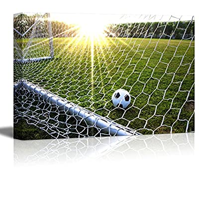 Canvas Prints Wall Art - Close Up of The Soccer Goal Netting with Soccer Ball on a Green Field - 32