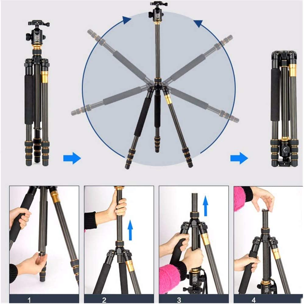 QZSD Q999C Section 4 Carbon Fiber Professional Tripod with Ball Head for Camera