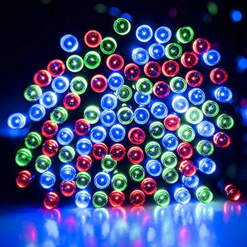 lychee Solar powered string light 55ft 17m 100 LED Solar Fairy light string for Garden,Outdoor,Home,Christmas Party (17m 100Leds, Multicolor)