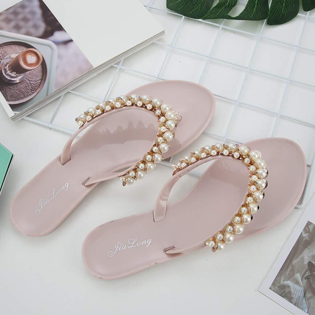 Cewtolkar Women Flip Flops Pearls Slippers Outdoor Shoes Roman Sandals Flat Flip Flops Loafers Slippers Summer Shoes