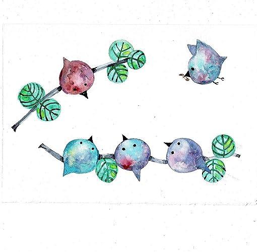 Watercoloraquarelle Peinture Chambre Denfant Oiseaux