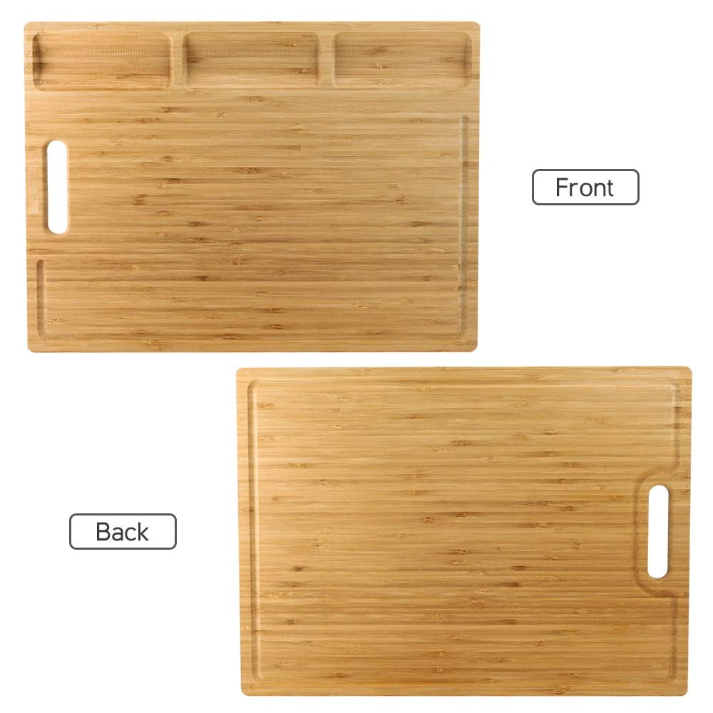 HHXRISE Venfon Large Organic Bamboo Cutting Board For Kitchen, With 3 Built-In Compartments And Juice Grooves, Heavy Duty Chopping Board For Meats Bread Fruits, Butcher Block, Carving Board, BPA Free by HHXRISE (Image #3)