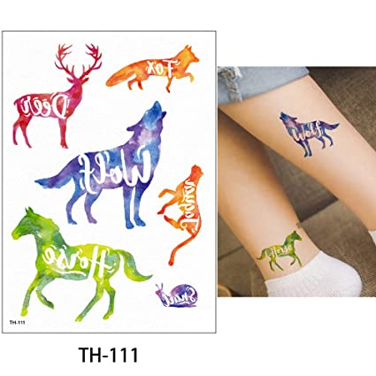 88ade9ebf Image Unavailable. Image not available for. Color: s14 1 Sheet Watercolor  Animal Temporary Tattoo Fox Wolf Decal Body Sticker Water Transfer Tattoo  Paper