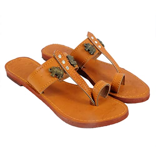 e2d4a164214da Jaipuri Shop Women Ethnic Sandals Kohlapuri Elephant Brown Ethnic Slippers  Sandals WMO363  Buy Online at Low Prices in India - Amazon.in