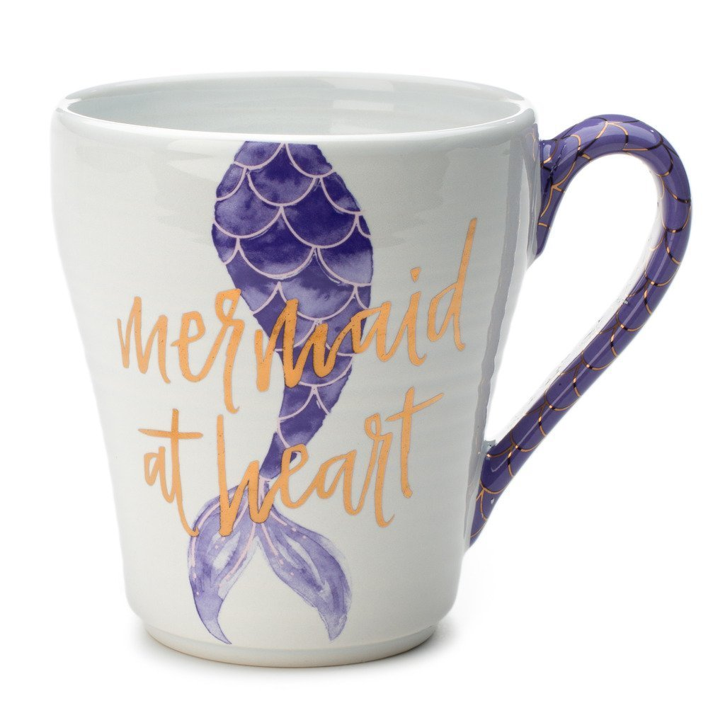 Ceramic Reusable Coffee / Tea Mug: Cute Novelty Mermaid at Heart Hot Coffee or Tea Cup with Unique Purple and Gold Foil Handle Design - 15 Ounce