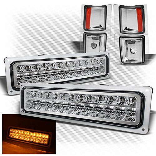 Xtune For 1994-1998 Chevy C/K Pickup/Tahoe/Suburban/Corner Lights Euro Style w/Amber Reflector + LED Bumper Lights Chevy Suburban Euro Headlights