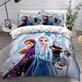 Jacrarr Frozen Elsa and Anna Sister Bedding for Girls Comforter Cover Set Including 1Duvet Cover,1Pillowcases Twin Size