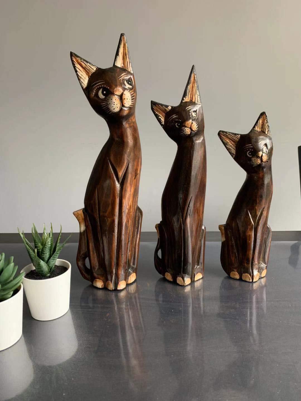 Thai Crafts Decoration Handmade Wood Carving Cute Cat Set Gift/&Decor 30//25//20cm 1, 3