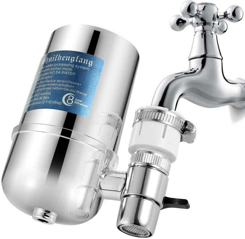 Musitelying Tap Faucet Water Filter Purifier System Kitchen Mount Cleaner Home Cleaning Tool Easy to Install Water Purifier Silver