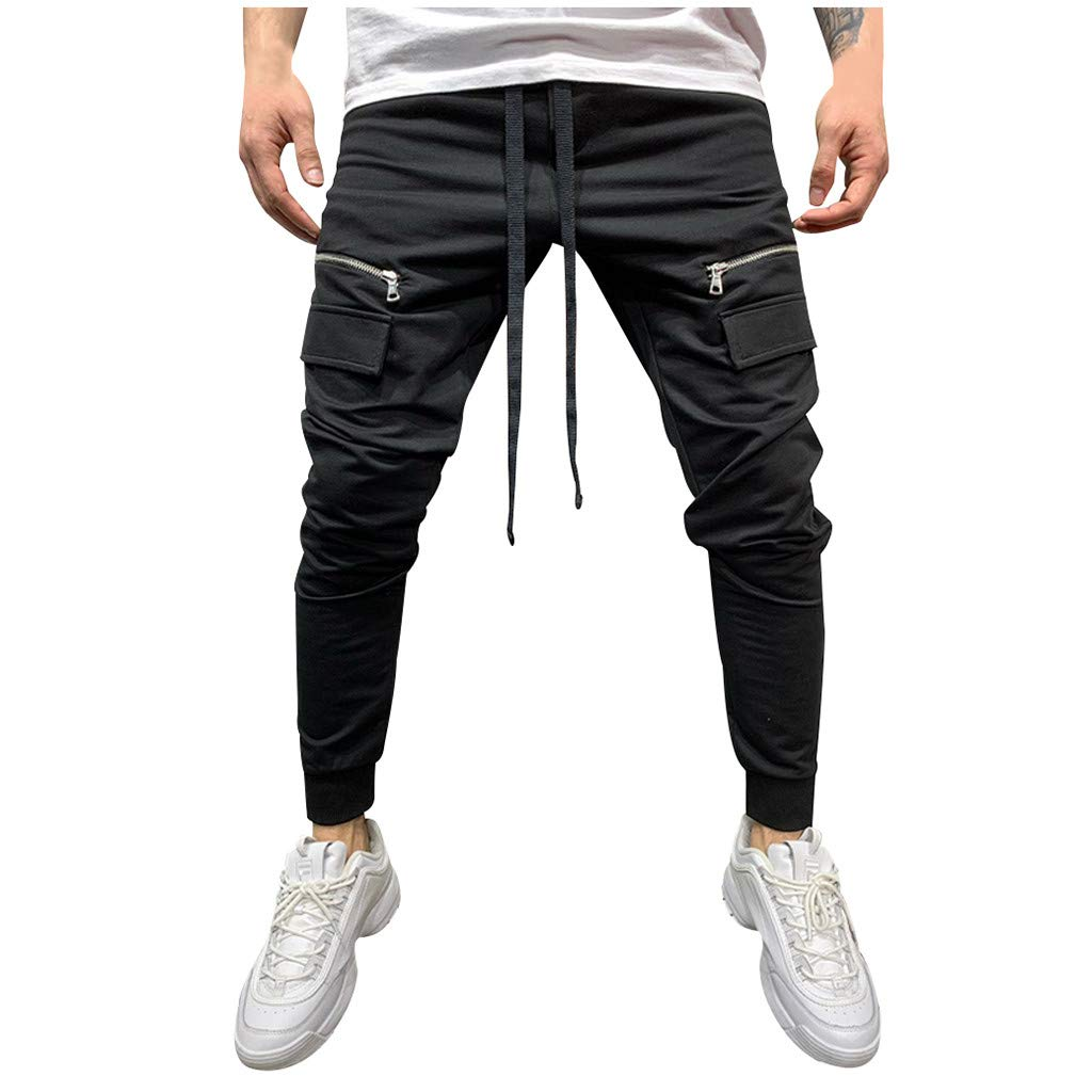 Allywit Men Zipper Pure Color Overalls Casual Pocket Sport Work Casual Trouser Pants Joggers Sweatpants Plus Size