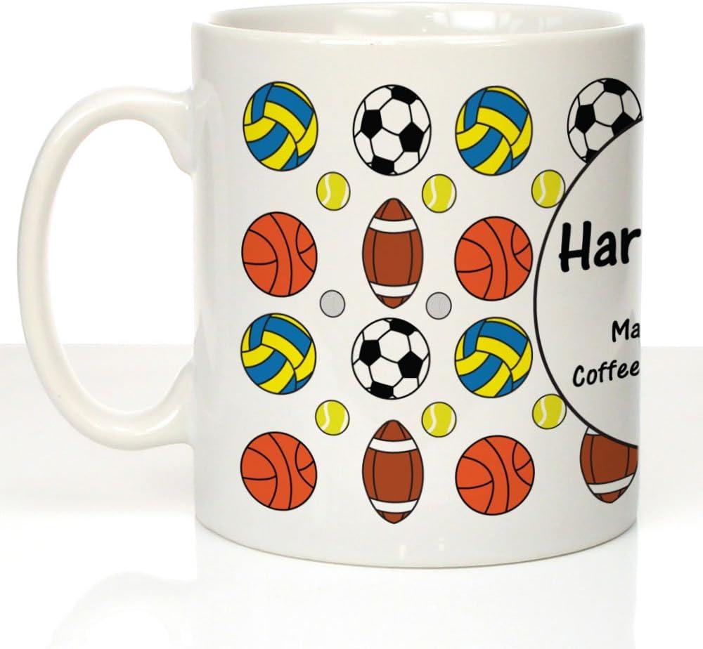 Personalizado Deportes diseño Personalizado té café Leche Taza de azúcar, Deportes Regalos, Tazas de Perosnalised