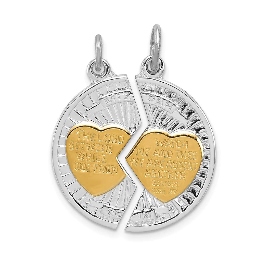 Diamond2Deal 925 Sterling Silver Rhodium-plated Gold-plated Polished Mizpah 2-piece Pendant