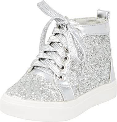 3c1381b07299 Cambridge Select Girls  High Top Closed Round Toe Glitter Lace-Up Inner Zip  Fashion