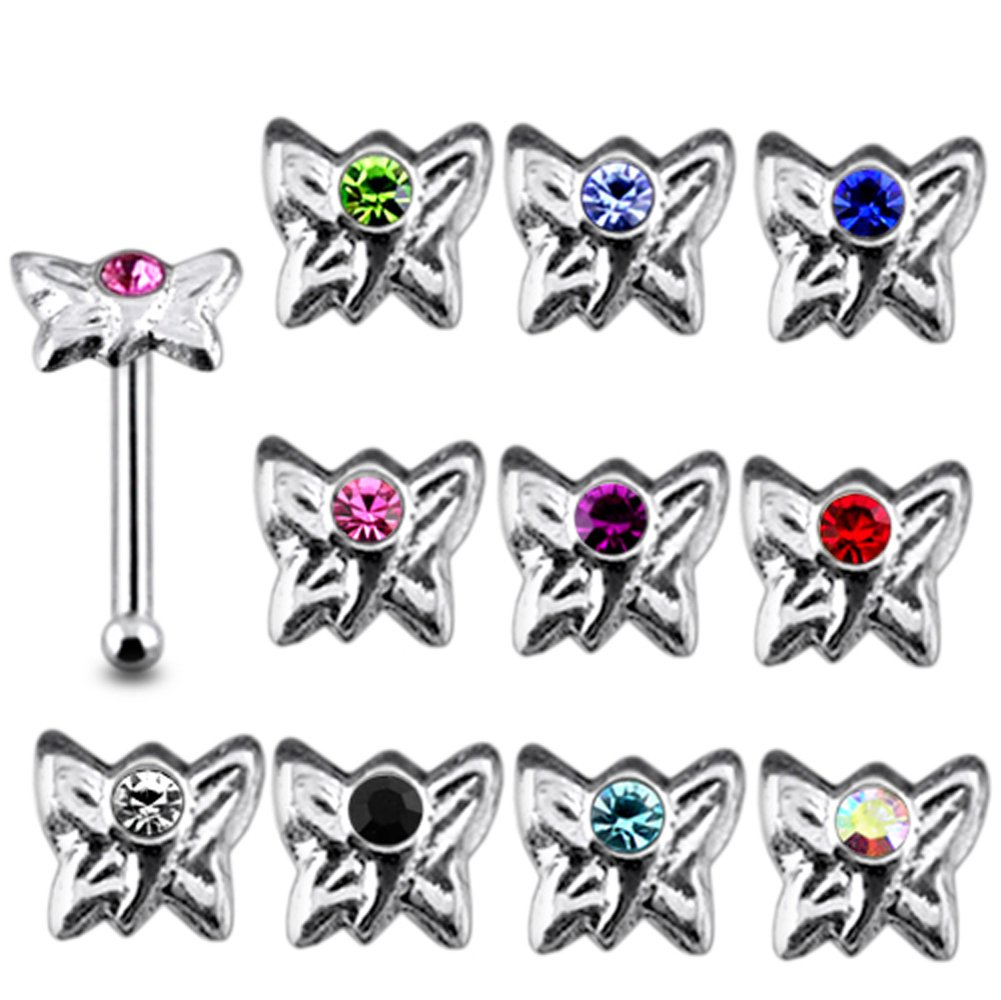20 Pieces Mix Color Jeweled Butterfly 925 Sterling Silver Nose Pin Ball End 20Gx1/4 (0.8x6MM). Pack in Acrylic Box.