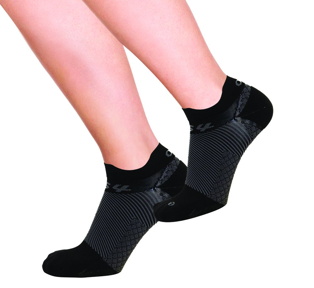 OrthoSleeve FS4 Orthotic Socks (Pair) for Plantar Fasciitis Relief, arch support and foot health featuring patented FS6 technology (Large, No-Show Black)