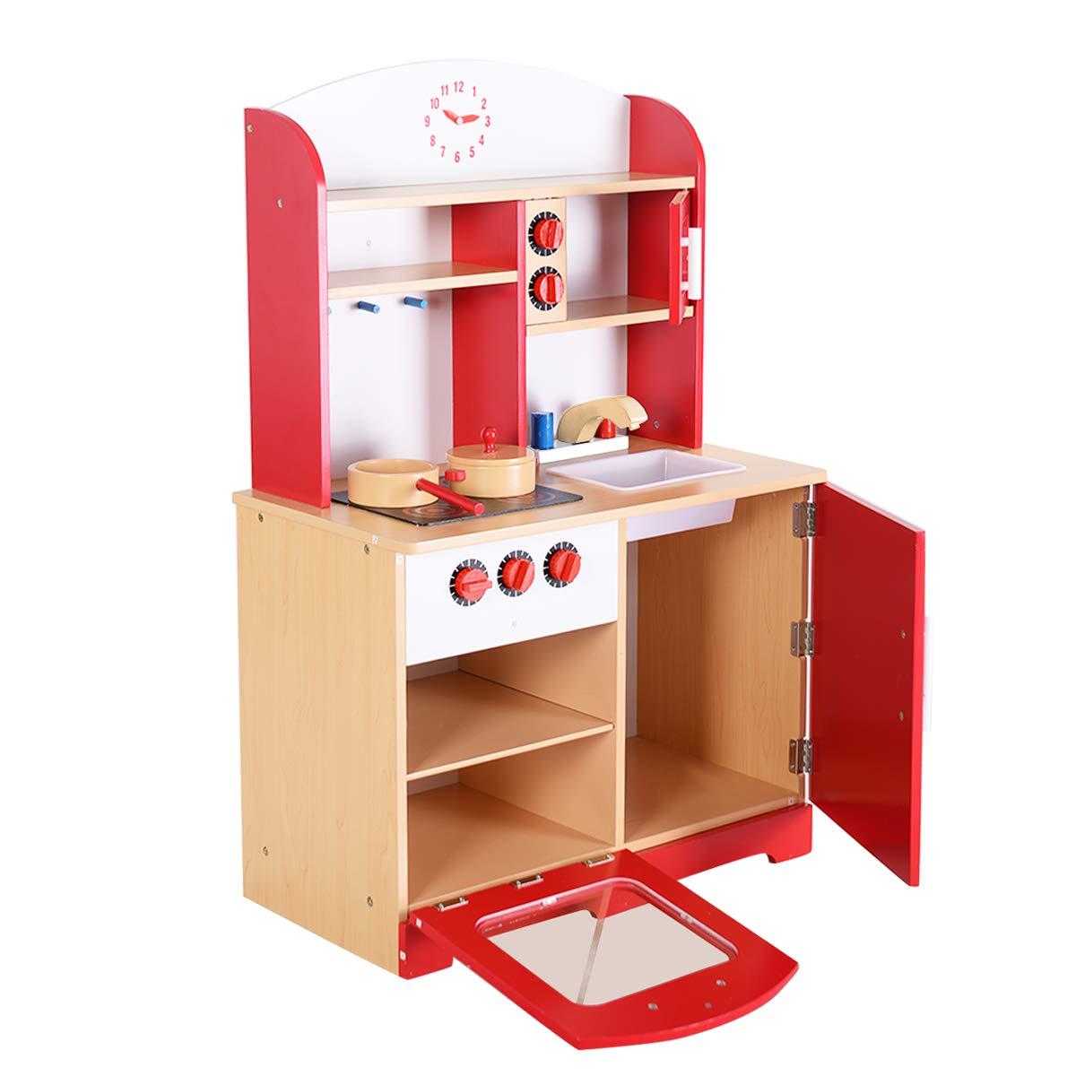 Blitzzauber24, Cucina Giocattolo in Legno per Bambini, Rosso, 61 x 33 x 93CM