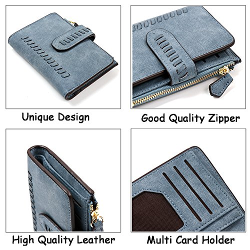IFUNLE Womens RFID Blocking Soft PU Matte Leather Bifold Short Wallet Large Capacity Card Holder Key Cash Zipper Coin Pocket Buckle Ladies Travel Purse (#2 Coffee) by IFUNLE (Image #6)