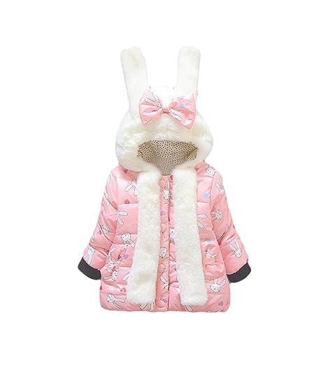 a73e7f136 Tkria Winter Newborn Baby Girl Long Sleeve Rabbit Ears Coat Hoodie ...