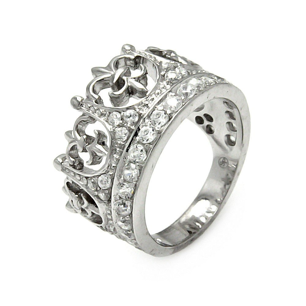 Princess Kylie Clear Cubic Zirconia Royal Crown Design Ring Rhodium Plated Sterling Silver